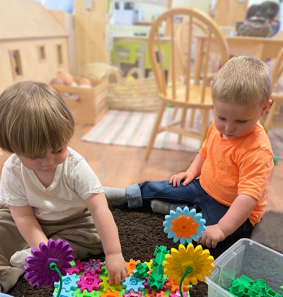children exploring gears